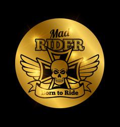Skull motorbike rider emblem vector