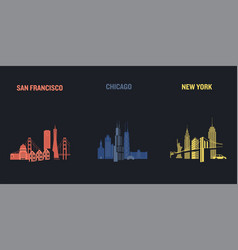 skyline san francisco chicago and new york vector image