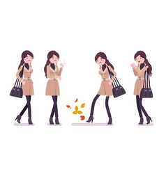stylish woman feeling cold wearing autumn clothes vector image