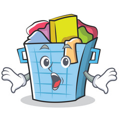 Surprised laundry basket character cartoon vector