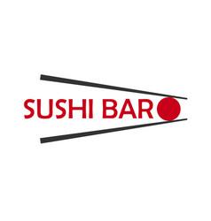 sushi bar logo template design with chopstick bar vector image
