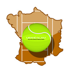 Tennis ball with text on a map vector