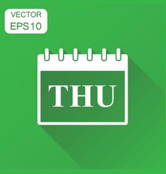 thursday calendar page icon business concept vector image
