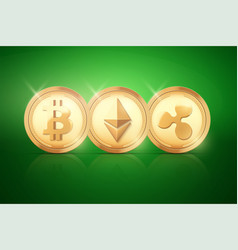top coin of cryptocurrency vector image