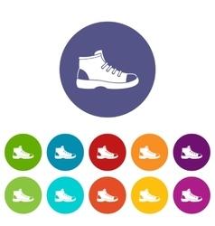 Tourist shoe set icons vector image