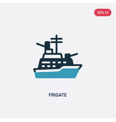 Two color frigate icon from nautical concept vector