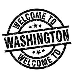Welcome to washington black stamp vector