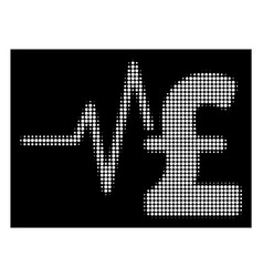 White halftone pound financial pulse icon vector