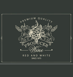 wine label with hand-drawn grapes and angels vector image