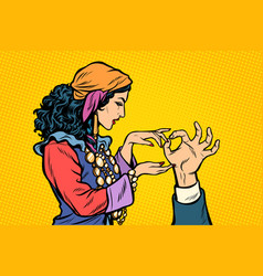 Woman fortune teller gypsy palmistry hand vector