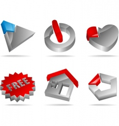 3d glossy icons vector image