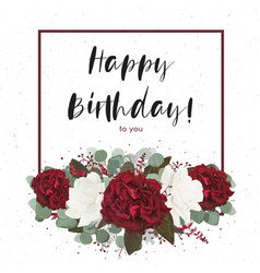 floral happy birthday greeting gift card design vector image vector image