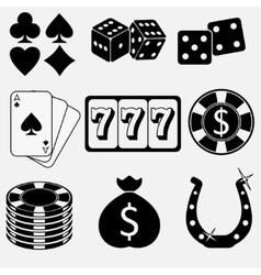 Gambling and casino flat icons vector image