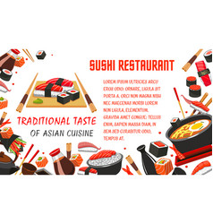 japanese sushi restaurant banner of asian food vector image vector image