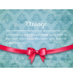 Vintage background with red bow vector image vector image