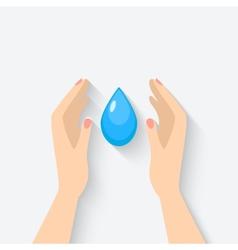 water drop in hands symbol vector image