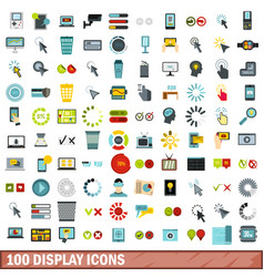 100 display icons set flat style vector image vector image