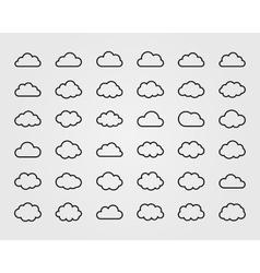 Big set of thirty-six cloud shapes vector image vector image