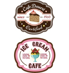 Chocolate pie and ice cream emblems vector