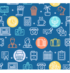 office work pattern background on a blue vector image