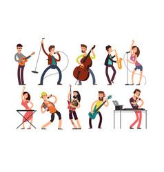 rock and pop musicians cartoon characters vector image