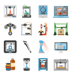 3d printing icons set vector image