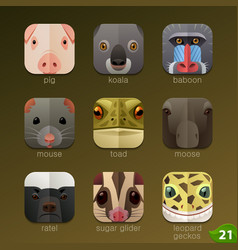 animal faces for app icons-set 21 vector image vector image