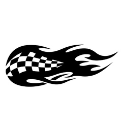 Flaming black and white checkered flag vector image