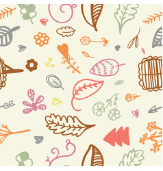hand drawn seamless romantic floral pattern vector image