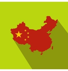Map of China with national flag icon flat style vector image vector image