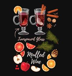 set of mulled wine ingredients vector image