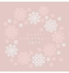 Snowflake winter card of header in gentle feminine vector