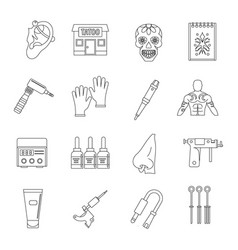 tattoo parlor icons set outline style vector image