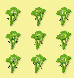 broccoli different emotions cartoon style vector image vector image