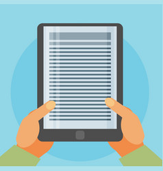Flat background with hands and e-book vector