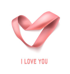heart from ribbon valentine day background vector image