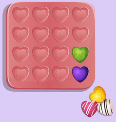 Heart shaped candy molds vector image