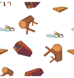Sawmil and timber pattern cartoon style vector