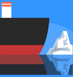 ship and iceberg ship travel to north pole vector image