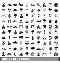 100 scenery icons set simple style vector