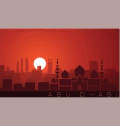 Abu dhabi low sun skyline scene vector