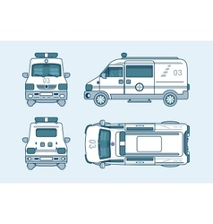 Ambulance car top front side back view line vector