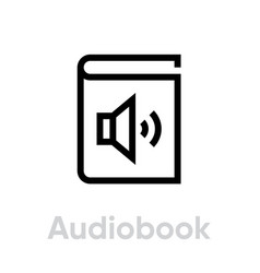 audiobook icon editable outline vector image