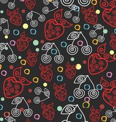 Berry Endless Seamless Dark Pattern vector image