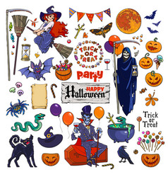 Big set of halloween cartoon characters and vector