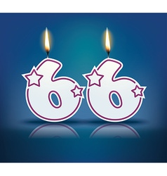 Birthday candle number 66 vector