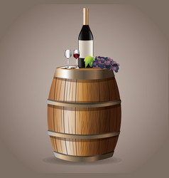 Bottle wine drink barrel grape image vector