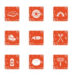 Brochette icons set grunge style vector