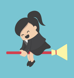 business woman rides broom with happy vector image
