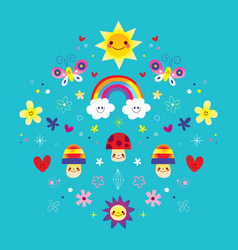 butterflies rainbow flowers mushrooms hearts vector image